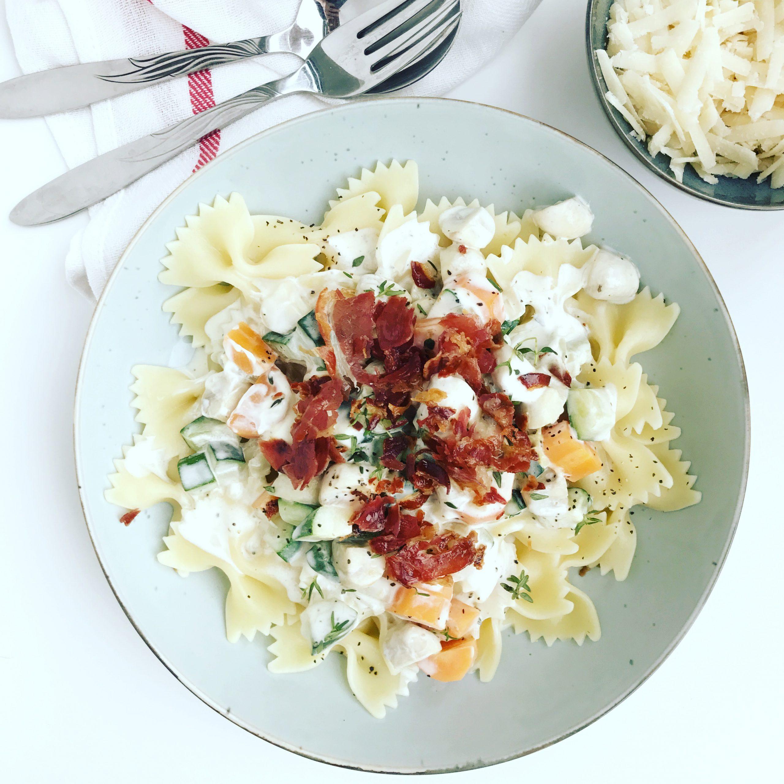 Pasta met mascarpone en pancetta