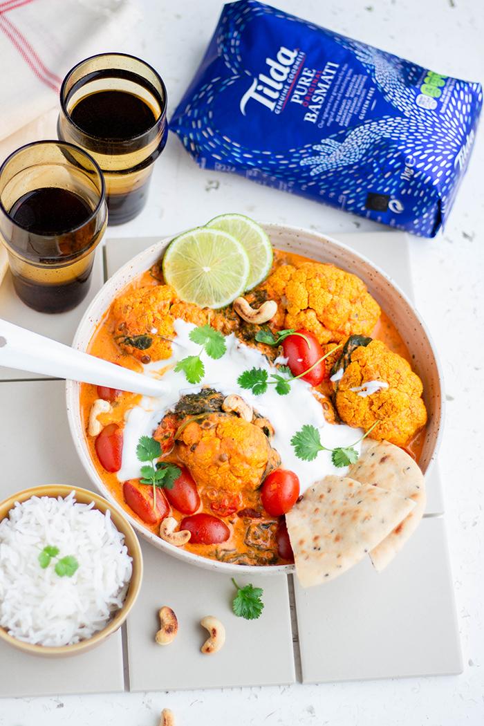 Bloemkool tikka masala met Basmati rijst